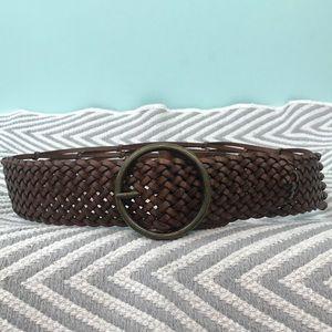 Linea Pelle Vegan Leather Braided Wide Brown Belt